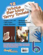 White Cotton Bar Mops, Terry Towels, 41cm X 48cm 1 Dozen