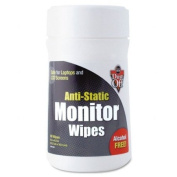 Dust-Off : Premoistened Monitor Cleaning Wipes, Cloth, 6 x 6, 80 per Tub -:- Sold as 2 Packs of - 1 - / - Total of 2 Each