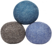 LooHoo Wool Dryer Balls Deluxe 3-Pack 100% Domestic Wool, Made in Maine, USA, Reusable, Natural Fabric Softener - Assorted Colours