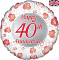 46cm Foil Balloon Happy 40th Anniversary Red Rose Design