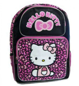 "16"" Hello Kitty Pink Bow Black Backpack - School Bag 40 cm Tall ."