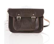 28cm Chocolate Brown Real Leather Oxbridge Satchel - Classic Retro Fashion laptop / school bag