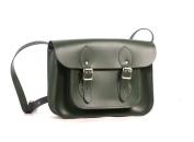 28cm British Racing Green Real Leather Satchel - Classic Retro Fashion laptop / school bag