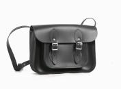 28cm Charcoal Black Real Leather Satchel - Classic Retro Fashion laptop / school bag