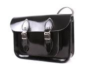 28cm Patent Black Real Leather Satchel - Classic Retro Fashion laptop / school bag