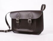 28cm Choc Brown Real Leather Satchel - Classic Retro Fashion laptop / school bag