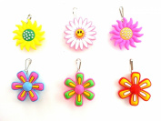 6 pcs Large Flowers #1 Zipper Pull / Zip pull Charms for Jacket Backpack Bag Pendant