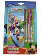 Mickey Mouse Club Tin Pencil Case and 6 Pack Coloured Pencil - Mickey Pencil Case