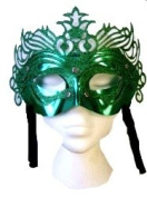 Green Ornate mask With Silver studs And Glitter Frontage