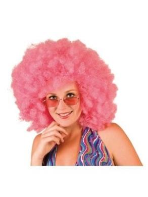 Afro Perücke rosa für Erwachsene