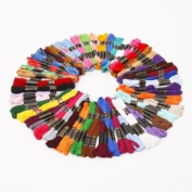 Embroidery Thread, 100% Cotton, 100 x Assorted Coloured Skeins