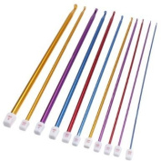 "11Pcs 2-8mm 10.6"" Multicolour Aluminium TUNISIAN/AFGHAN Crochet Hook Knit Needles Set"