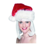 Santa Hat, Deluxe, Red with White Trim,