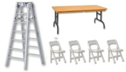 15cm Silver Folding Ladder, Brown Wood Effect Breakaway Table & 4 Chairs - Wrestling Figure Accessories