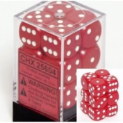 Fantastic Red With White Spots Opaque 12mm 6 Standard Sided Dice 36 With Clear Box (Ages8+) Toy / Game / Play / Child / Kid