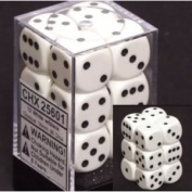 Fabulous Chessex Opaque 12mm D6 Black W/ White Dice Block 36 Standard (3.2 Ounces) With Clear Box Toy / Game / Play / Child / Kid