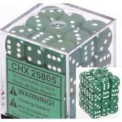 Fabulous Chessex Opaque 12mm D6 Green W/ White Dice Block 36 Standard (3.2 Ounces) With Clear Box Toy / Game / Play / Child / Kid