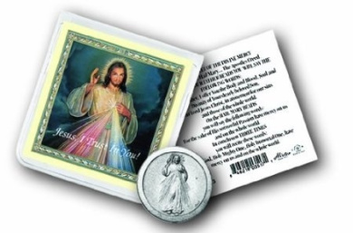 Blessed By Pope Benedict XVI Divine Mercy Coin in Clear Folder with Prayer