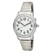Ladies Silver Tone Talking Watch White Face - Choice of Voice