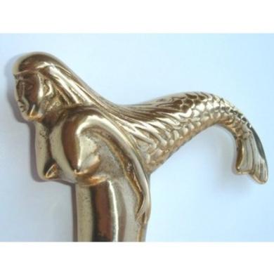 Mermaid Cane Victorian Walking Stick Antique Brass Handle Vintage Reproduction