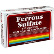 PACK OF 3 EACH FERROUS SULF TAB RED 325MG URL 100TB PT#677007101