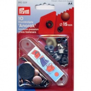 PRYM 390309 Press fasteners 'Anorak' Size 15mm antique copper, 10 pieces