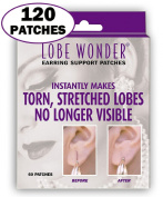 120 Invisible Earring Ear-Lobe Support Patches - Provides Relief for Damaged, Streched Ear-Lobes and Helps Protect Healthy Ear Lobes Against Tearing
