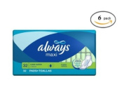 Always Maxi Unscented Pads with Wings, Long/Super 32 Count