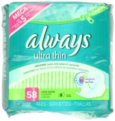 Always Ultra Thin Long/Super With Wings, Unscented Pads 58 Count