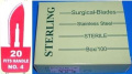 Sterling #20 Surgical Podiatry Blades Scalpels Sterile Stainless Steel -100/Bx- Pedicure