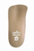 Pedag 127/128 Relax 3/4 Length Anatomically Shaped Leather Insole with Flexible Latex Heel Cup, Arch Support and Metatarsal Pad, Tan