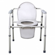 Medline Tool-Free Foldable Commode/Bedside Toilet, 1 ea