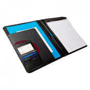Caseoit Smooth Faux Leather Padfolio - Black
