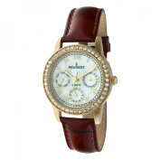 Peugeot Women's. Crystal Accented Multi-Function Leather Strap Watch - Gold/Brown