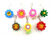 7 pcs Small Flowers #1 Zipper Pull / Zip pull Charms for Jacket Backpack Bag Pendant