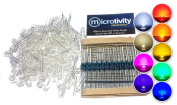 microtivity IL389 4.8mm Assorted Wide Angle Straw Hat LED w/ Resistors