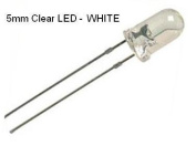 NightFire - 5mm Clear WHITE LED with Resistors