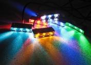 LED Light Pod, 3 LEDs - 12vDC LED Motorcycle Light (1-Pack) Amber/Chrome