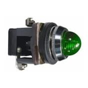30mm Pilot Light, Metal, Green, 110VAC/VDC LED