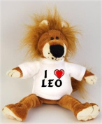 Lion plush toy (Fetzy) with I Love Leo t-shirt