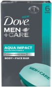 Dove Men +Care Body & Face Bar Soap, Aqua Impact 120ml, 6 ct