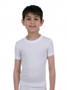 Boys Thermal Underwear Short Sleeve Vest White