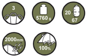 Grand Canyon Robson 3 Persons Tunnel Tent - Olive