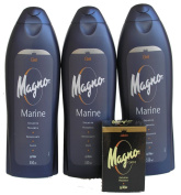 3 Bottles of Magno Marine Shower Gel 18.3oz/550ml with Magno Classic Soap 4.4oz.