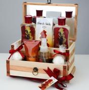 French Vanilla Bath Gift Set in 200ml shower gel,200ml bubble bath, 120g bath sale, 120ml body spray,100g body lotion, 2 fizzer