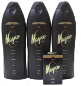 3 Bottles of Magno Classic Shower Gel 18.3oz/550ml with Magno Soap 4.4oz.