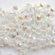 Pretty Pebbles Beads - 100 Fire Polished Czech Glass Faceted Beads 4mm Crystal AB