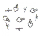 Pretty Pebbles Beads - 10 Tibetan Silver Heart Toggle Clasps Lead & Nickel Free