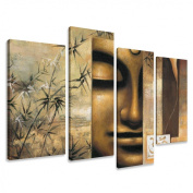 Picture - art on canvas spa relax length 130cm height 80cm , four-part parts model no. XXL 6157 Pictures completely framed on large frame. Art print Images realised as wall picture on real wooden framework. A canvas picture is much less expe ..