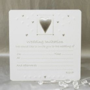 Luxury Wedding Invitations - Pack of 10 - White & Silver
